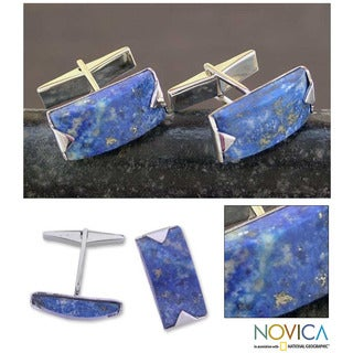 Sterling Silver 'Blue Intensity' Lapis Lazuli Cuff Links (India)