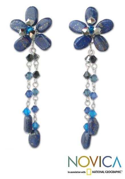 Sterling Silver 'Blue Bouquet' Lapis Lazuli Earrings (Thailand)