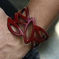 Leather 'Crimson Nest' Wristband Bracelet (Indonesia)