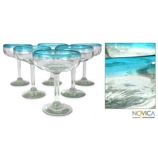 Set of 6 Blown Glass 'Aquamarine' Margarita Glasses (Mexico)