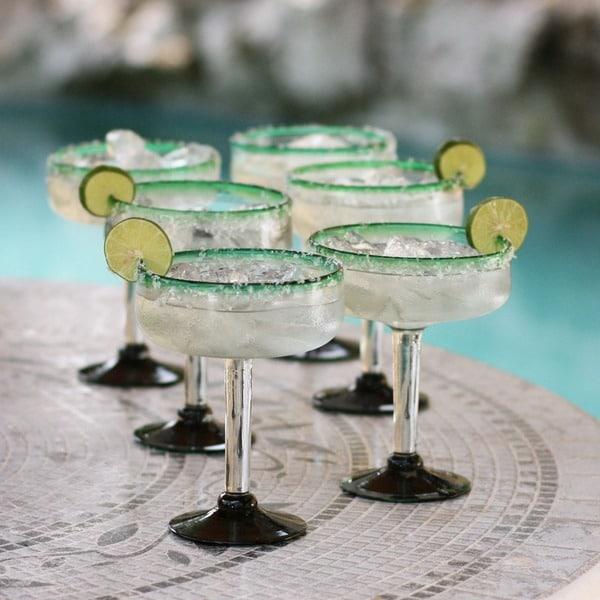 Set of 6 Blown Glass Green Margarita Glasses (Mexico)