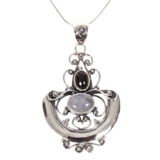 Ornate Arabesque Cabochon Moonstone and Garnet Set in Openwork 925 Sterling Silver Womens Pendant Necklace (Indonesia)