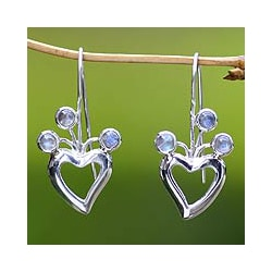 Sterling Silver 'Lucky in Love' Moonstone Earrings (Indonesia)