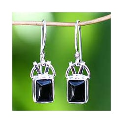 Sterling Silver 'Black Vision' Onyx Earrings (Indonesia)