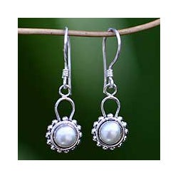 Pearl 'Silver Moonlight' Drop Earrings (Indoensia)