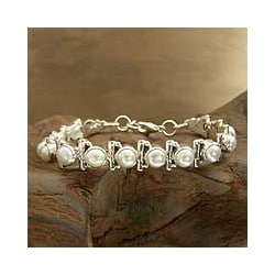 Sterling Silver 'Purity' Pearl Tennis Bracelet (India)