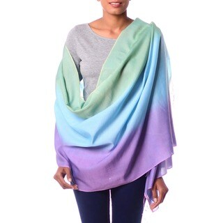 Aqua Rose Hand Woven Silk and Wool Delicate Ombre Green Turquoise Lavendar Womens Year Round Day or Evening Shawl Wrap (India)