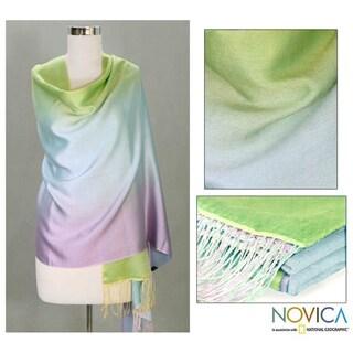 Silk and Wool 'Aqua Rose' Shawl (India)
