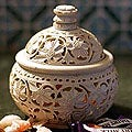 Soapstone 'Ivy and Lace' Jar (India)