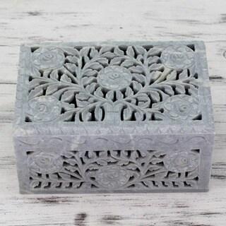 Soapstone 'White Roses' Jewelry Box (India)