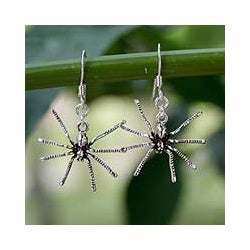 Sterling Silver 'Sterling Spiders' Dangle Earrings (Thailand)