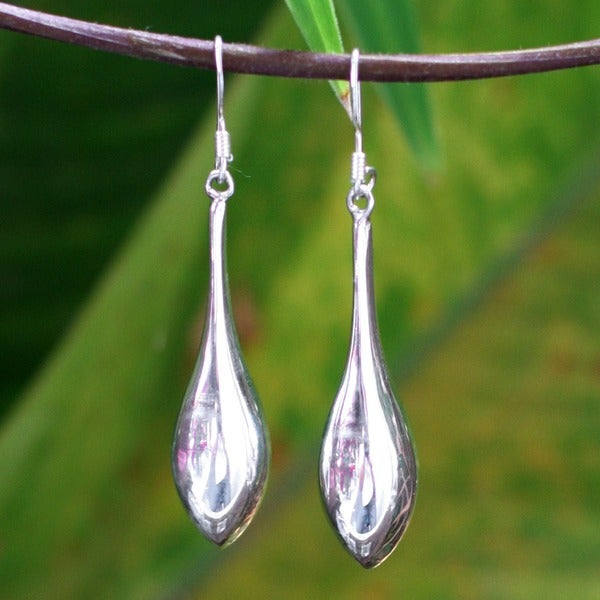 Handmade Sterling Silver Dewdrops Drop Dangling Style Earrings (Thailand)