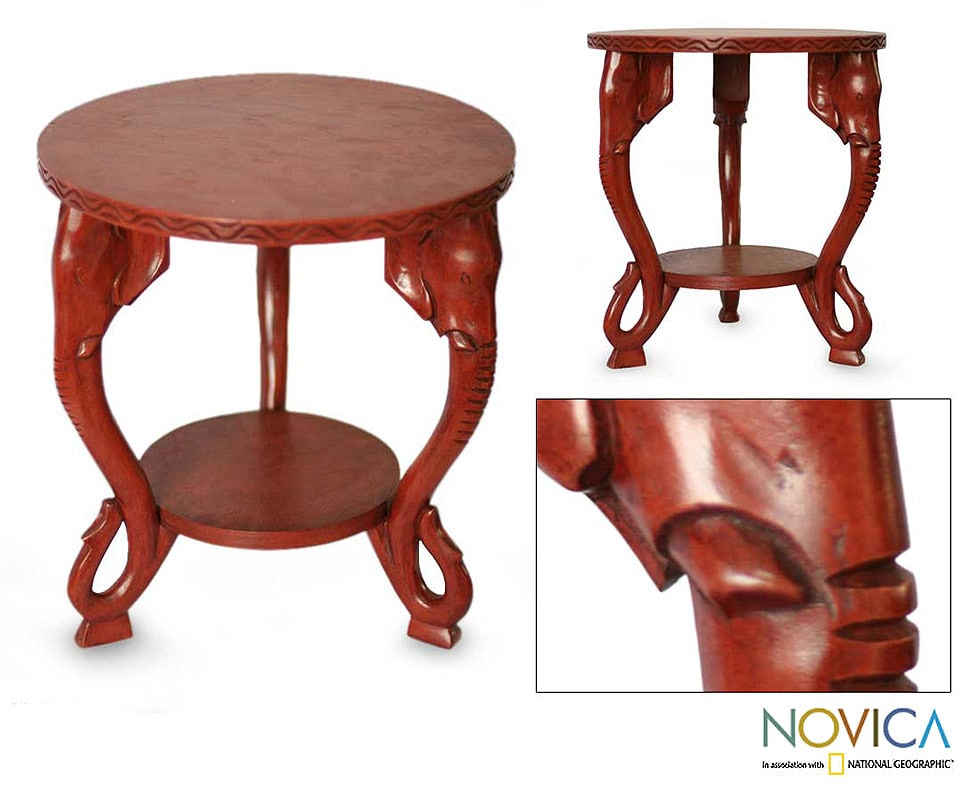 Wood 'Heroic Elephants' End Table (Ghana)
