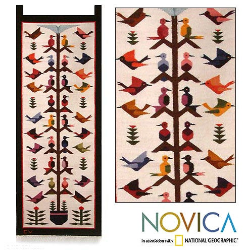Handwoven with Natural Dyes 100% Wool Hummingbird Song Multicolor Hanging of Andean Birds on Cream Background Wall Art Tapestry