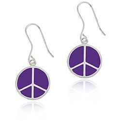 Glitzy Rocks Sterling Silver Purple Enamel Peace Sign Earrings