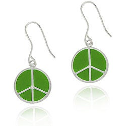 Glitzy Rocks Sterling Silver Green Enamel Peace Sign Earrings