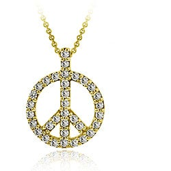 Icz Stonez 18k Gold/ Sterling Silver CZ Peace Sign Necklace