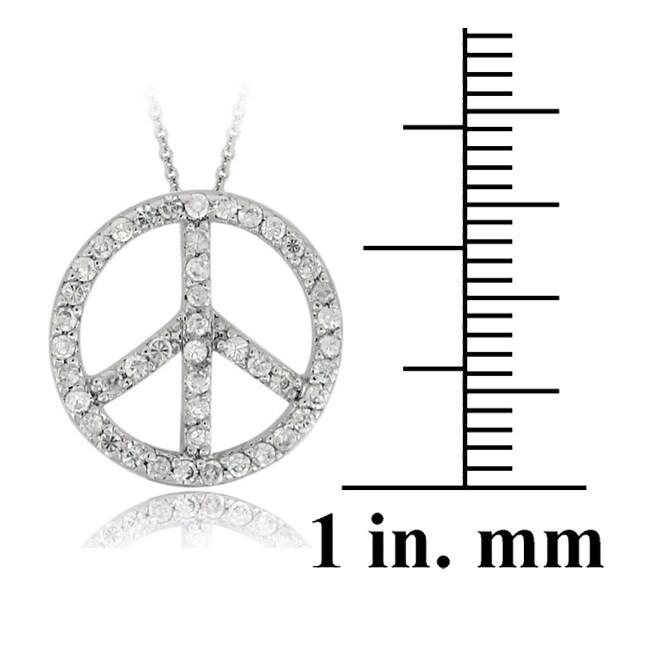Icz Stonez Sterling Silver CZ Peace Sign Necklace