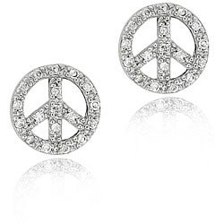 Icz Stonez Sterling Silver CZ Peace Sign Stud Earrings