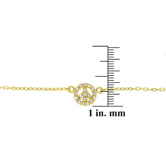 Icz Stonez 18k Gold/ Sterling Silver CZ Peace Sign Anklet