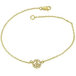 Icz Stonez 18k Gold/ Sterling Silver CZ Peace Sign Anklet