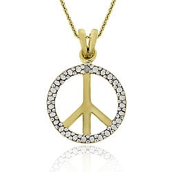 DB Designs 18k Gold/ Sterling Silver Diamond Peace Sign Necklace