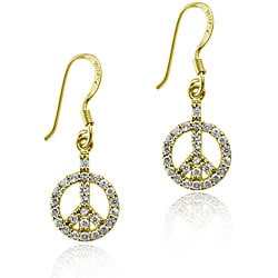 Icz Stonez 18k Gold/ Sterling Silver CZ Peace Sign Earrings