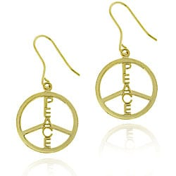 Mondevio 18k Gold/ Sterling Silver Peace Sign Earrings