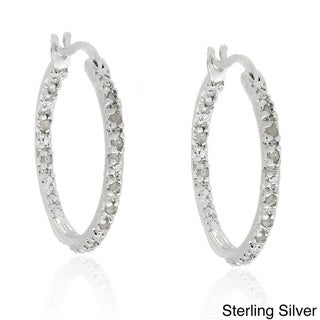 Finesque Sterling Silver 1/4ct TDW Diamond Hoop Earrings (J-K, I3)