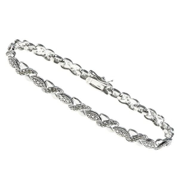 Finesque Sterling Silver 1/2ct TDW Diamond Bracelet (J-K, I3)