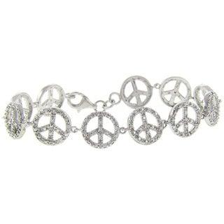 Finesque Sterling Silver Peace Sign Diamond Accent Bracelet