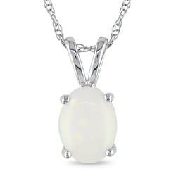 Miadora 10k White Gold Opal Necklace