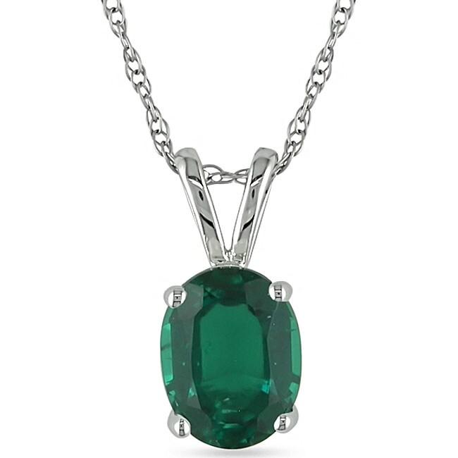 Miadora 10k White Gold Created Emerald Necklace