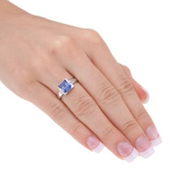 Miadora 10k White Gold Created Tanzanite and Diamond Ring