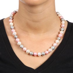 Miadora Sterling Silver FW Multicolor Pearl Necklace (9-10 mm)