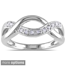 Haylee Jewels Sterling Silver 1/10ct TDW Diamond Infinity Ring (I-J, I3)