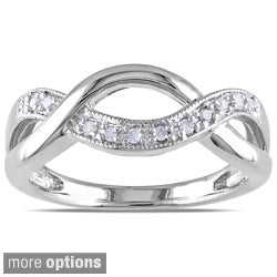 Miadora Sterling Silver 1/10ct TDW Diamond Infinity Ring (I-J, I3)