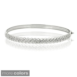 DB Designs 18k Gold over Sterling Silver Diamond Accent Bangle