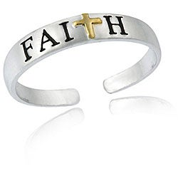 Mondevio Sterling Silver Two-tone Faith Toe Ring