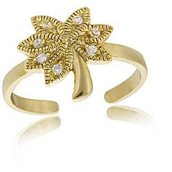 Icz Stonez 18k Gold/ Sterling Silver CZ Palm Tree Toe Ring