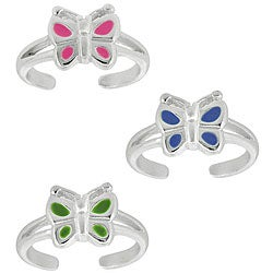 Mondevio Sterling Silver Enamel Butterfly Toe Ring (Set of 3)