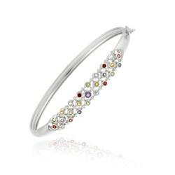 Glitzy Rocks Sterling Silver Diamond Accent Multi-gemstone Bracelet