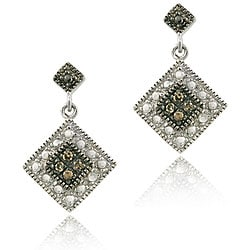 DB Designs Sterling Silver 1/10ct TDW Brown Diamond Earrings