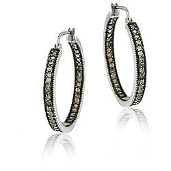 DB Designs Sterling Silver 7/8ct TDW Brown Diamond Hoop Earrings