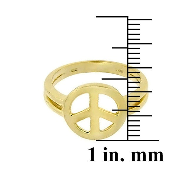 Mondevio 18-karat Gold over Sterling Silver High-polished Peace Sign Ring