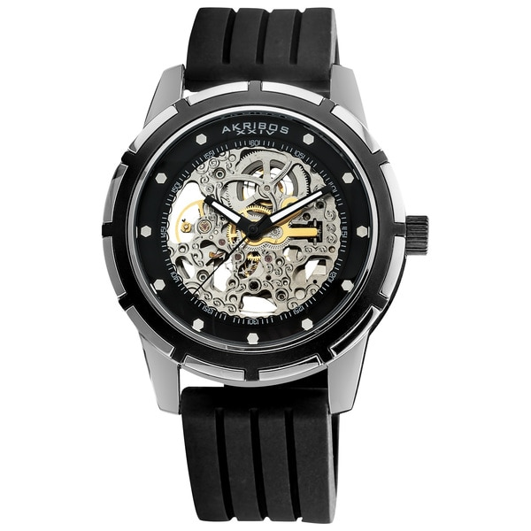 Akribos XXIV Men's Delos Skeleton Black Automatic Watch
