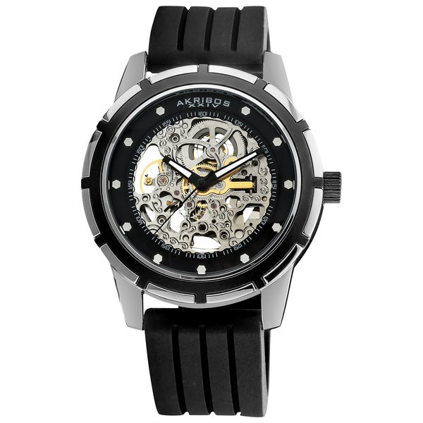 Akribos XXIV Men's Delos Skeleton Black Automatic Silver-Tone Watch