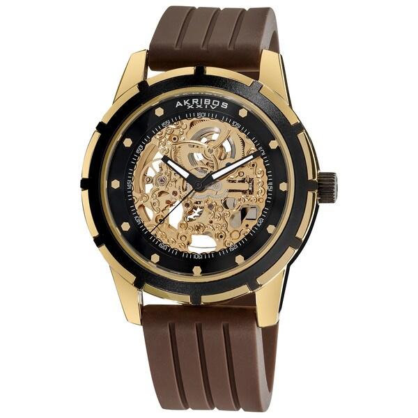 Akribos XXIV Men's Delos Skeleton Automatic Gold-Tone Watch 5433293