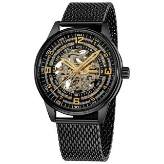 Akribos XXIV 'Saturnos Elite' Men's Stainless-Steel Skeleton Automatic Bracelet Watch