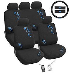 Blue Hearts 12-piece Automotive Seat Cover Set